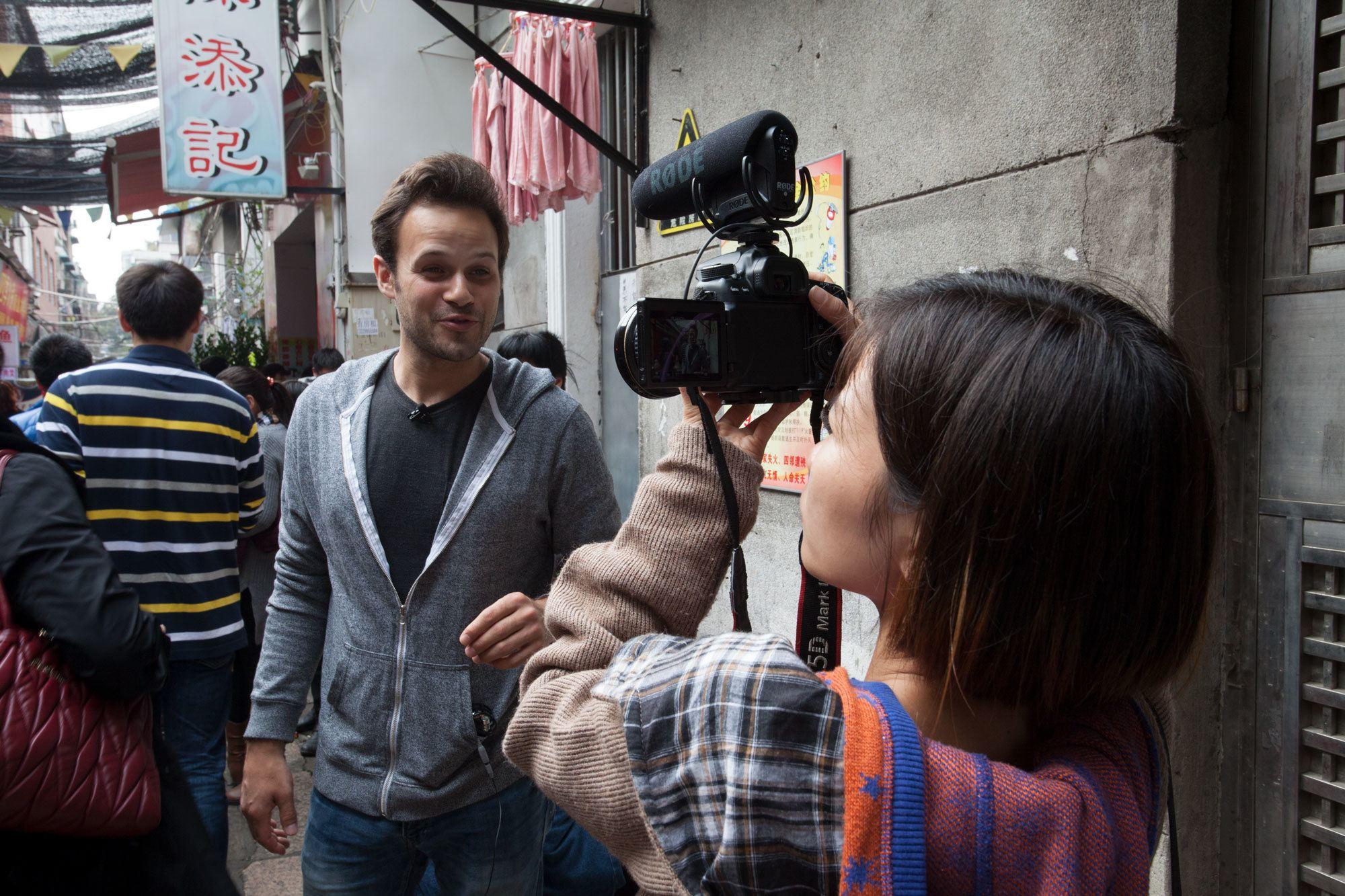 Filming the food ranger in Guangzhou, China