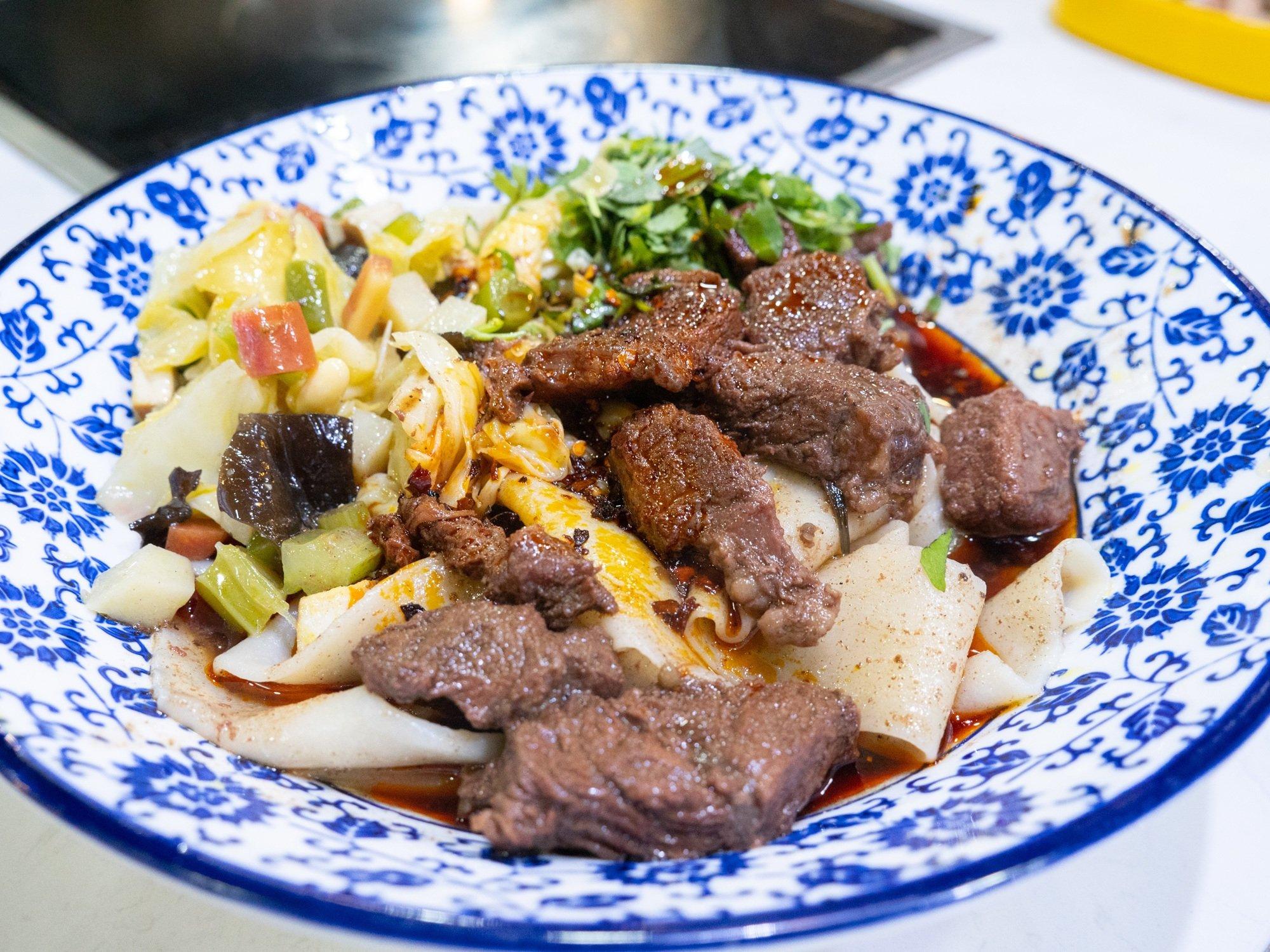 A nice big bowl of Xi'an biang biang mian noodles