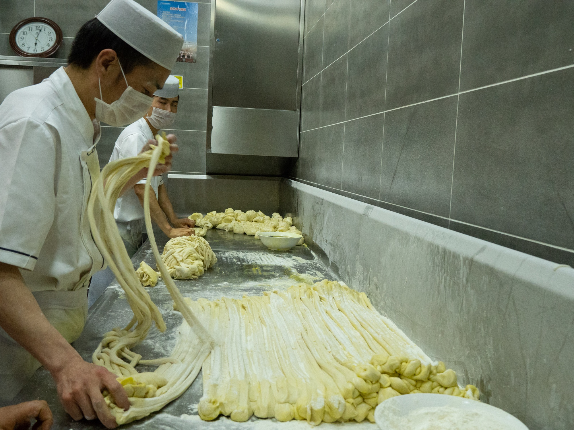 Chinese street food hand pulled noodles