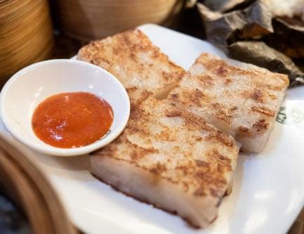 the lo bak gao radish turnip cake dim sum dish in hong kong