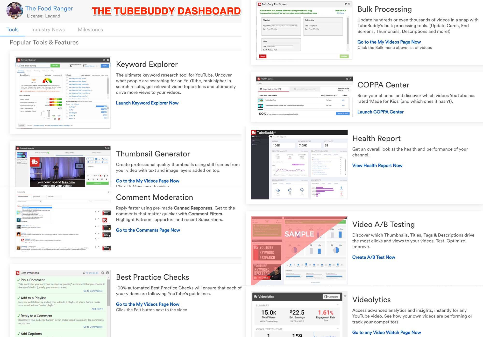 tubebuddy features and dashboard when the extension is installed on chrome